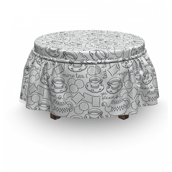 Read Reviews Tea Party Tableware 2 Piece Box Cushion Ottoman Slipcover Set