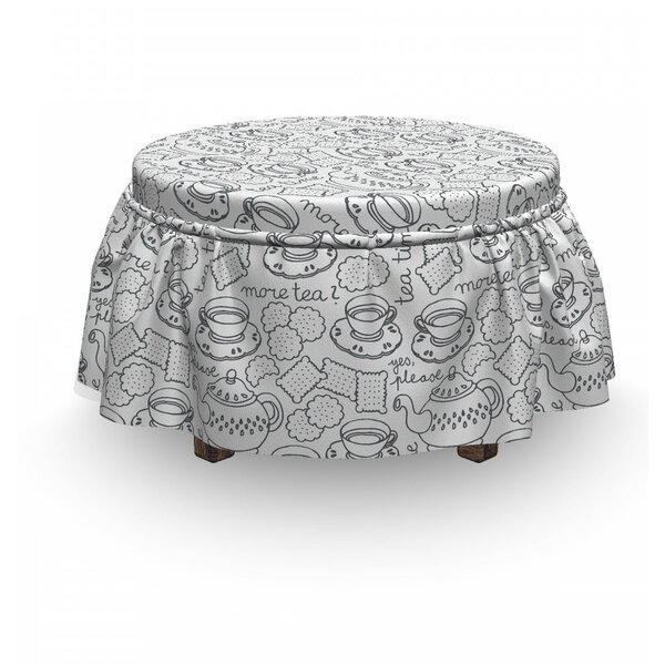 Tea Party Tableware 2 Piece Box Cushion Ottoman Slipcover Set By East Urban Home