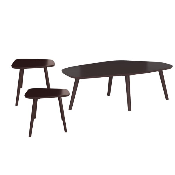 Quito Wood 3 Piece Coffee Table Set by Ebern Designs Ebern Designs