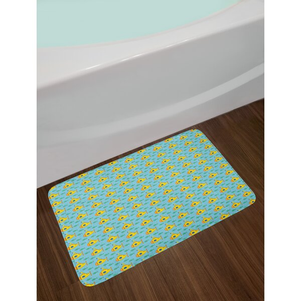 Aqua Yellow Submarine Bath Rug by East Urban Home