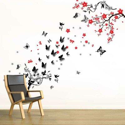Wandtattoo Blütenblume, Butterrebe Und 3D Schmetterling