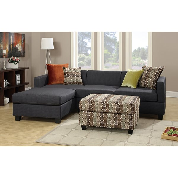 Bobkona Dayton Left Hand Facing Sectional with Ottoman by Poundex