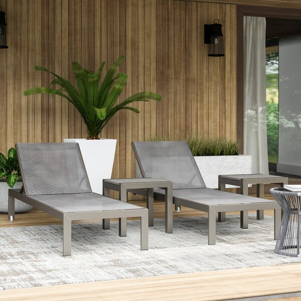 SLLY LRG 2 Chaise Lounge Set with Table by Mercury Row