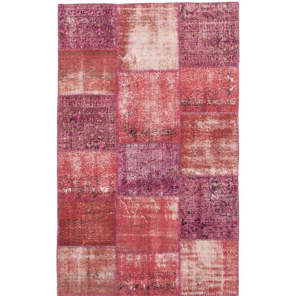 One-of-a-Kind Lecia Handmade Wool Dark Burgundy/Pink Area Rug by Bloomsbury Market