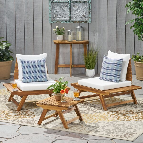 Bankston 3 Piece Seating Group with Cushions George Oliver W002379185