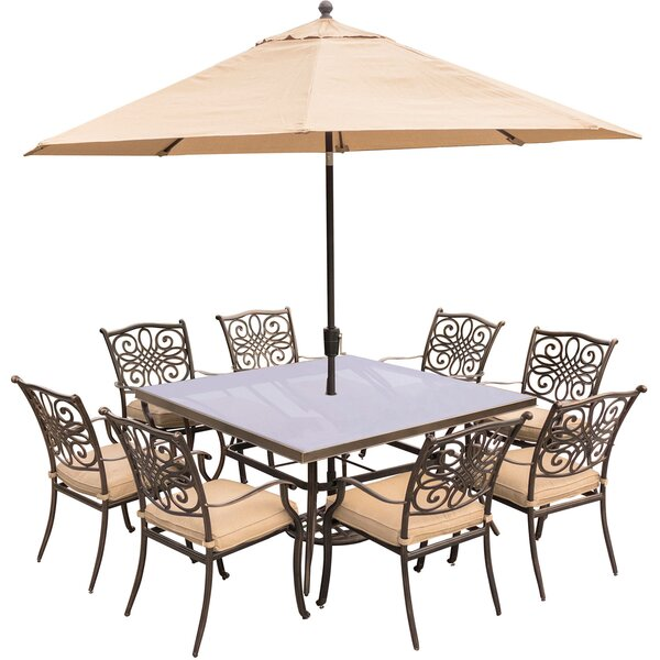 Lauritsen 9 Piece Square Dining Set with Cushions by Three Posts