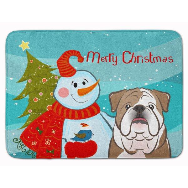 Snowman with English Bulldog Memory Foam Bath Rug by The Holiday Aisle