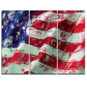 USA Flag Abstract Art - 3 Piece Wall Art on Wrapped Canvas Set by Design Art