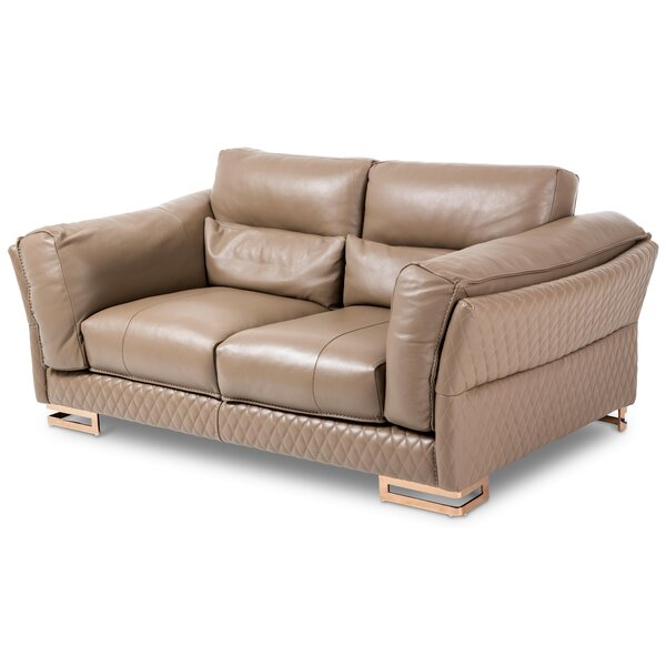 Mia Bella Monica Leather Loveseat by Michael Amini