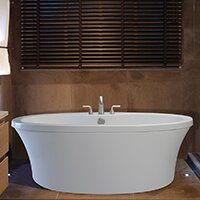 Center Drain Freestanding 66 x 36.75 Soaking Tub with Deck for Faucet by Reliance