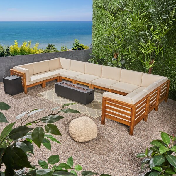 Maxwell Outdoor 12 Piece Sectional Seating Group with Cushions by Rosecliff Heights