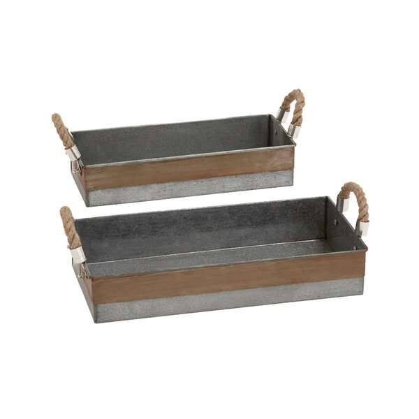 Metal Galvanized 2 Piece Accent Tray Set by Cole & Grey
