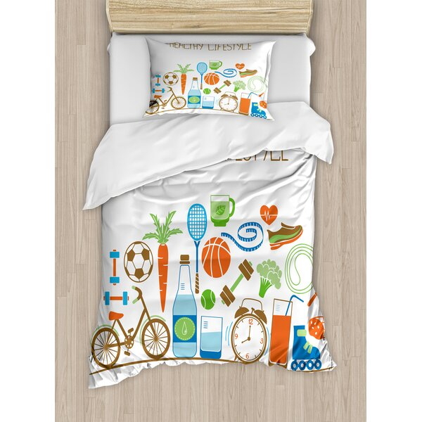 Healthcare Theme Athletic Energetic Life Routine Wellness Gym Equipment Vegetables by East Urban Home