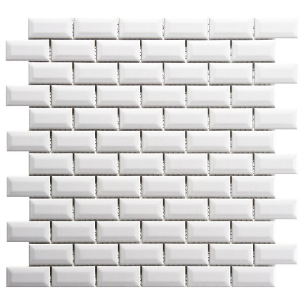 Retro Subway 0.88 x 1.88 Porcelain Mosaic Tile in Glossy White by EliteTile