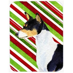 Basenji Candy Cane Holiday Christmas Tempered Glass Cutting Board ByEast Urban Home