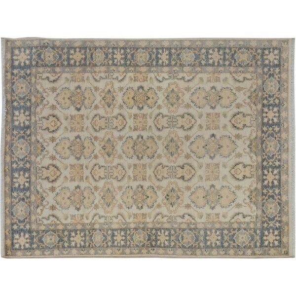Xenos Transitional Hand-Knotted Wool Ivory/Gray Area Rug by Astoria Grand