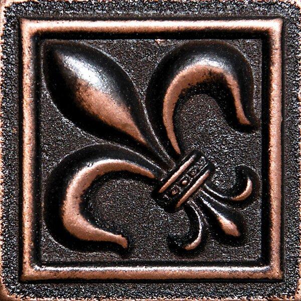 2 x 2 Fleur De Lis Deco Accent Tile in Oil Bronze by Parvatile