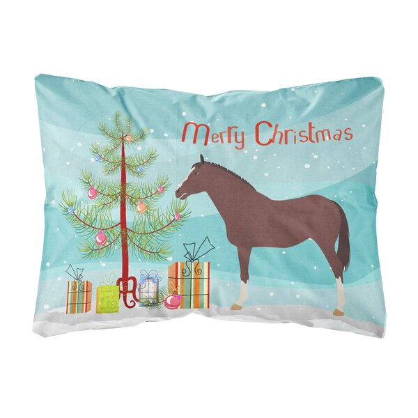 Ohlone English Thoroughbred Horse Christmas Fabric Indoor/Outdoor Throw Pillow by The Holiday Aisle