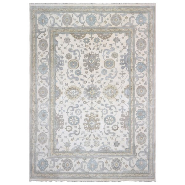 One-of-a-Kind Cothran Oushak Hand-Woven Wool Beige/Blue Area Rug by Isabelline