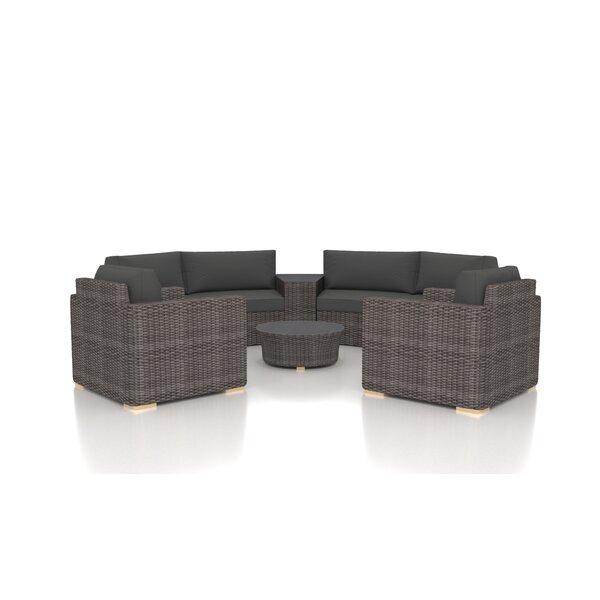 Holcomb 6 Piece Rattan Sectional Seating Group with Sunbrella Cushions by Rosecliff Heights