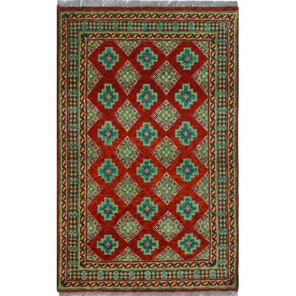 One-of-a-Kind Millender Isoke Hand-Knotted Wool Green/Red Area Rug by Bloomsbury Market