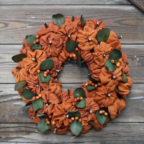 Burlap Pumpkin Wreath by August Grove
