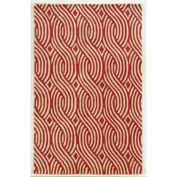 Genoa Hand-Tufted Ivory/Red Area Rug by Meridian Rugmakers
