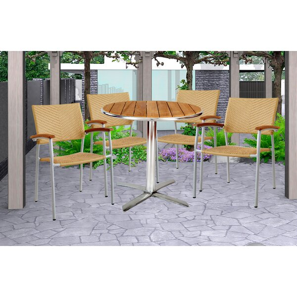 Kylie 5 Piece Teak Bistro Set by Latitude Run