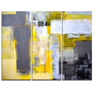 Grey and Yellow Blur Abstract - 3 Piece Painting Print on Wrapped Canvas Set by Design Art