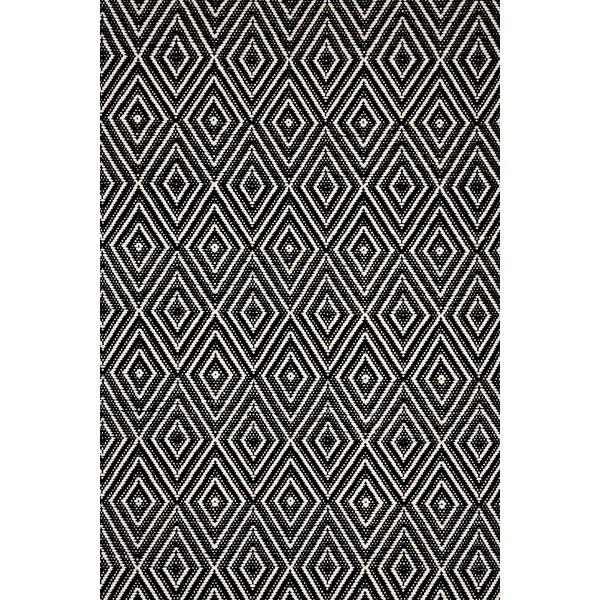 Diamond Hand Woven Black Indoor/Outdoor Area Rug by Dash and Albert Rugs