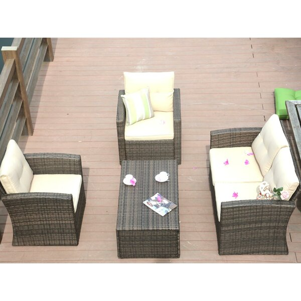 Kenisha 4 Piece Rattan Sofa Seating Group with Cushions by Alcott Hill