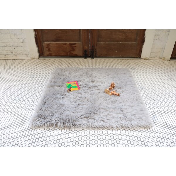 Boydton Stone Faux Fur Gray Area Rug by Harriet Bee