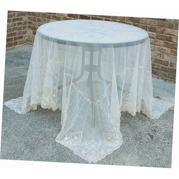 Exquisite Heart Lace Embroidered Tablecloth with Beaded Accent by Manor Luxe