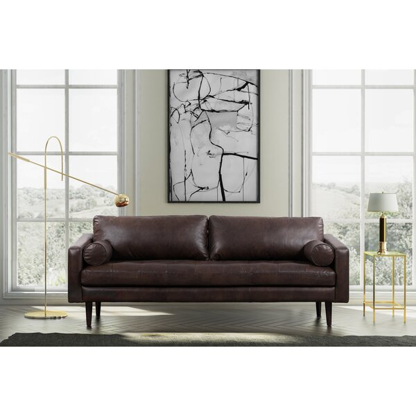 Popular Kate Leather Sofa by Foundry Select by Foundry Select