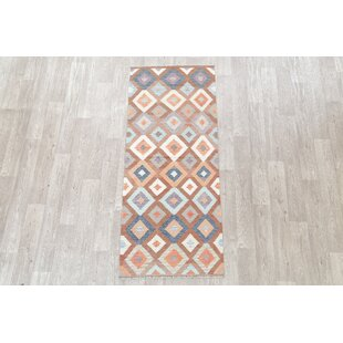 One-of-a-Kind Newington Oriental Kilim New Geometric Handwoven Flatweave Runner 2'8 x 6'6 Wool Gray/Charcoal Area Rug by Foundry Select