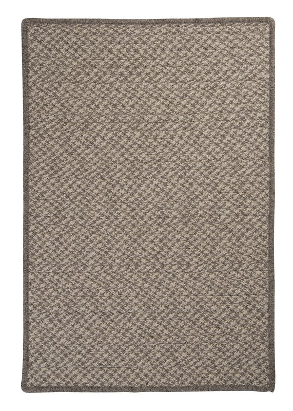 Natural Wool Houndstooth Braided Latte Area Rug