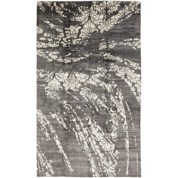 One-of-a-Kind Dakota Hand-Knotted Silk Gray Indoor Area Rug by Isabelline