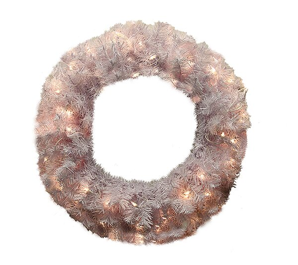 36 Lighted Artificial White Cedar Pine Christmas Wreath by Northlight Seasonal