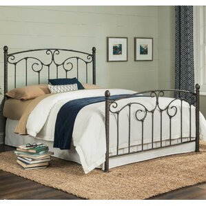 marcy complete metal panel bed with sloping top rails and vertical spindles - Spindle Bed