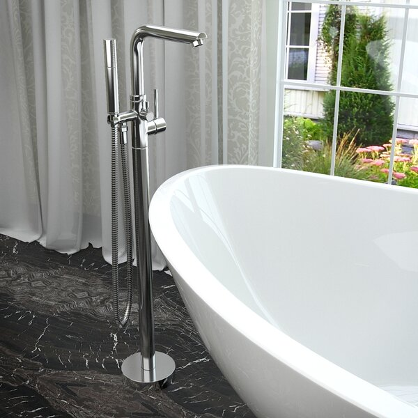 Sens Double Handle Floor Mounted Claw Foot Tub Faucet with Hand Shower by ANZZI