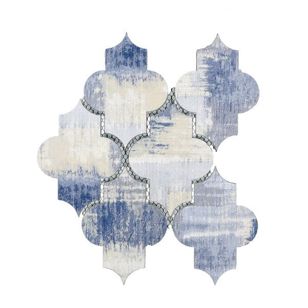 Nature Small Latern 4 x 5.5 Glass Mosaic Tile in Cement Blue/Tan by Abolos