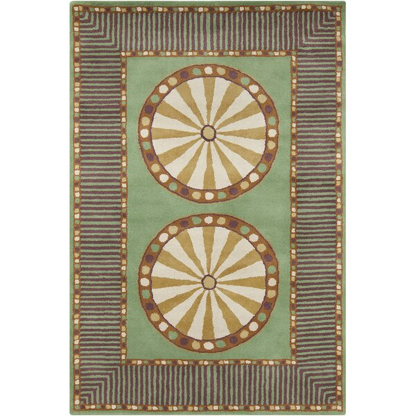 Fortson Hand Tufted Wool Green/Cream Area Rug by Bloomsbury Market