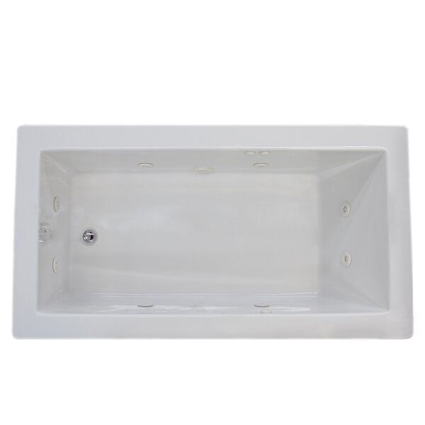 Guadalupe 71.63 x 32.5 Rectangular Whirlpool Jetted Bathtub with Drain by Spa Escapes