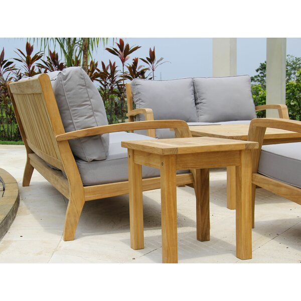 Ortega Deep Seating Teak Loveseat with Sunbrella Cushions by Rosecliff Heights Rosecliff Heights
