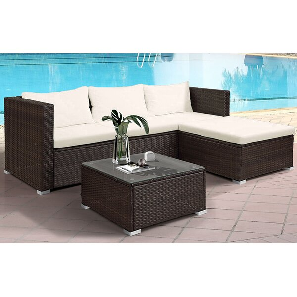 Bazine 3 Piece Rattan Sectional Seating Group with Cushions by Latitude Run