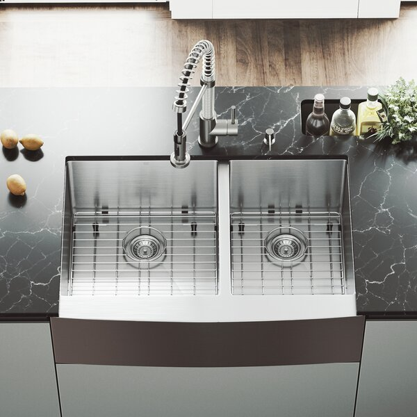 33 inch Farmhouse Apron 60/40 Double Bowl 16 Gauge Stainless Steel Kitchen Sink with Edison Stainless Steel Faucet, Two Grids, Two Strainers and Soap Dispenser by VIGO