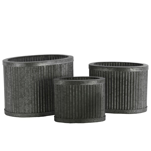 Oval 3-Piece Metal Pot Planter Set by Urban Trends