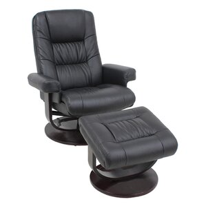 leather recliner and ottoman - Black Leather Recliner