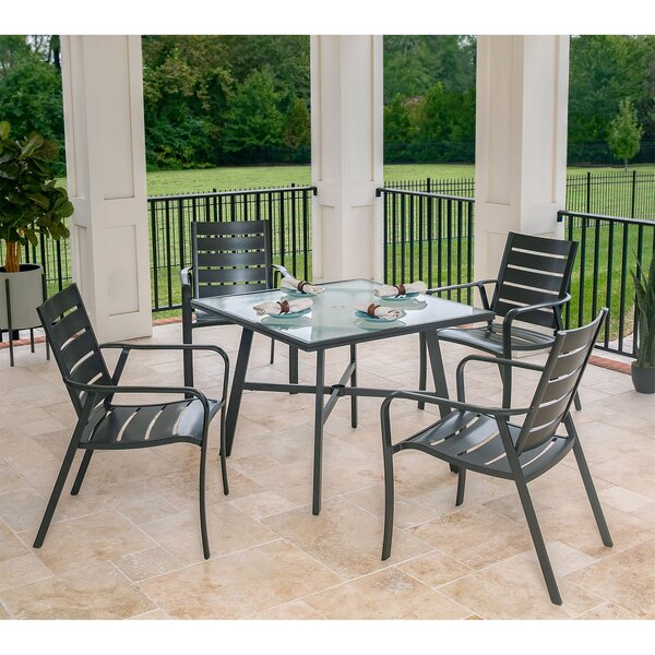 Colson 5-Piece Commercial-Grade Patio Dining Set with 4 Aluminum Slat-Back Dining Chairs and a 38