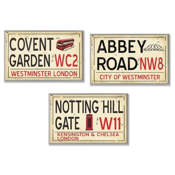London Railroad Stop 3 Piece Textual Art Wall Plaque Set by Stupell Industries